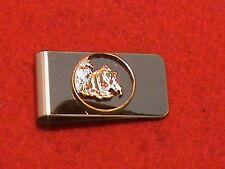 Hand cut Alaska state quarter 24 kt gold plated mounted as a money clip