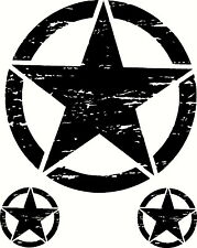 Military Oscar Mike Jeep Wrangler Distressed Star Hood Sticker Decal Set