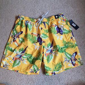 NWT Tommy Hilfiger XL yellow birds swim trunks mens