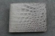 DOUBLE SIDE Beige Genuine Alligator ,Crocodile Leather Skin Men's Bifold Wallet