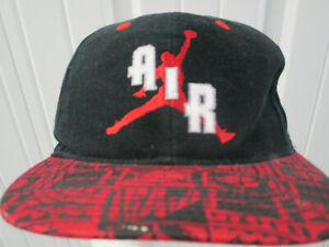 VINTAGE NIKE AIR FLIGHTS JORDAN RED BLACK 2 TONE SNAPBACK HAT CAP 90S PREOWNED
