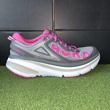 Women's Hoka One One Bondi 4 Pink Gray Running Shoes US 10 EUC