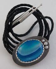 Large Sterling Silver & Blue Agate Elegant Southwestern Bolo Tie