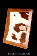 iPad 2 3 & 4 (Tan Fur Cowskin) Real Genuine Leather Cover Case Stand Folio