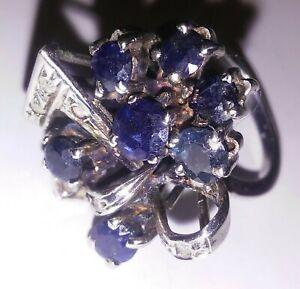 Authentic VINTAGE Palladium 950 Ladies  Ring With  Sapphire And Diamonds((151))