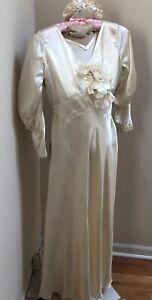 Vintage 1920's Bias Cut Liquid Satin Wedding Gown & Headpiece 32  No Stains