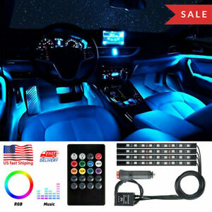 4x 36 LED Car SUV Interior Decor Neon Atmosphere RGB Light Strip Music Control