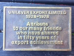 Vintage Solid Brass Plaque                          ::Unilever::