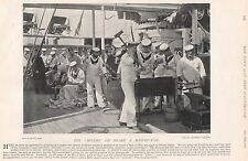 1896 MILITARY PRINT : THE 'IDLERS' ON BOARD A MAN OF WAR