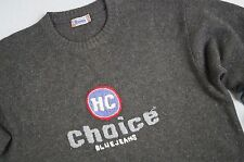 Men's HENRY CHOICE 100% Shetland Sweater Size XL Grey Crew Neck Long Sleeve