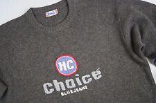 Men's Henry scelta 100% Shetland Maglione Taglia XL Grigio Girocollo Manica Lunga