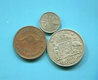AUSTRALIA - 3 BEAUTIFUL GEORGE VI COINS: 1/2 PENNY AND SILVER 3 PENCE & FLORIN