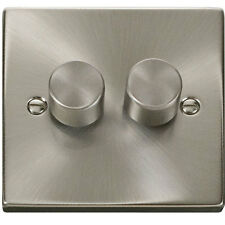 2 Gang 2 Way 400w Double Dimmer Switch Satin Chrome Click Decco �95.00