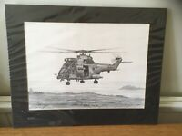 ORIGINAL PENCIL DRAWING JOHN PETTITT PUMA HELICOPTER RAF/MILITARY INTEREST