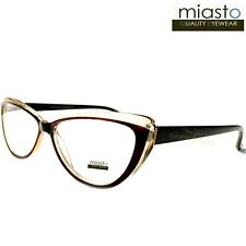 "MIASTO ""PARIS"" CAT EYE READER READING GLASSES CHEATERS+3.00 BROWN CLEAR~MEDIUM"