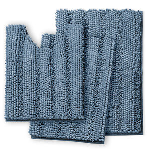 Chenille 3 PC Bath Mat Set Extra Soft and Absorbent Small Medium and Contour Rug