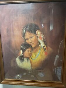 Vintage M Caroselli, Marianne Texas Artist Giclee on Canvas  Mother and Daughter