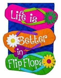 "Life is Better in Flip Flop 168541BL Evergreen Applique Garden Flag 12.5"" x 18"""