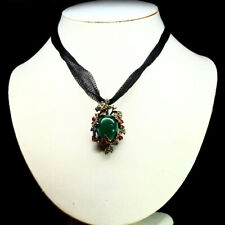 REAL GREEN CHALCEDONY DIOPSIDE & SAPPHIRE TWO DESING PENDANT / BROOCH 925 SILVER