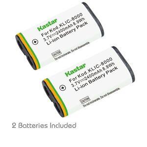 2x Kastar Battery for Kodak KLIC-8000  Z712 IS Z812 IS Z8612 IS