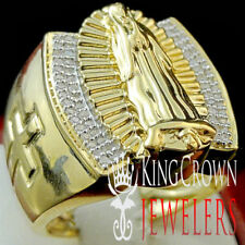 Men Genuine Real Diamonds Solid Sterling Silver Big Virgin Marry Ring Gold Tone