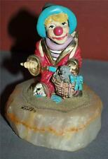 Authentic Collectible Ron Lee Signed 1987 Hitchhiker Clown With Dogs Figurine Dh