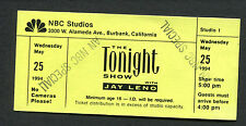 1994 Jay Leno Nbc Studio Tonight Show Special Unused Ticket Burbank California
