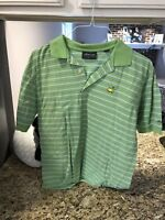 Mens Masters Golf Polo Medium Green With Stripes Embroidery