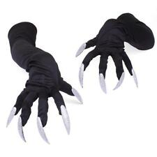 New Fashion Adult Long Witch Gloves Nails Black Costume Halloween Monster - Y2