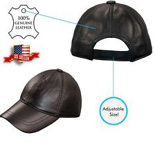 Men's 100% Genuine Real Leather Black Baseball Hat Cap Strap Sports Visor