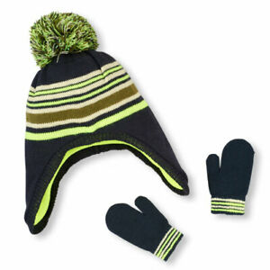 NWT The Childrens Place Baby Boy Knitted Fleece Hat & Mittens Set 12-24 Months