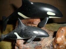 john perry 2 orcas on burlwood, dramatic wave like scene