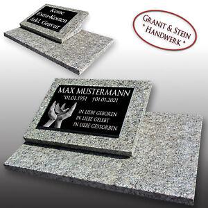 Granit Grabstein Grabplatte Grabmal komplett inkl.-Gravur in ca.60x40cm