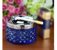 A13 Portable Blue Metal+Glass Home Storage Circular Cigarette Ashtray Gift