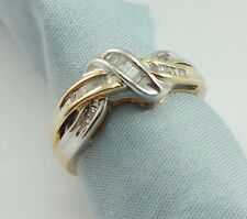 Elegant 10K Karat Two Tone Multi Color Gold Designer Diamonds Cluster Ring