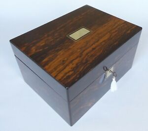 Large Antique Coromandel & Mother of Pearl Jewellery / Accoutrements Box