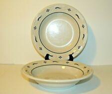 """Set of 2 Longaberger Classic Blue 8"""" Rim Soup Bowls - Usa"""