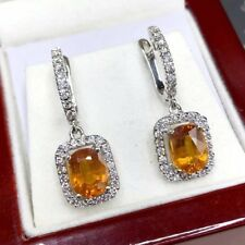 DANGLING! 6.22TCW Yellow Sapphire Diamond 18K solid white gold earrings Natural