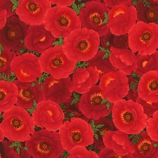 """49"""" Remnant Timeless Treasures Chong-a Hwang Packed Poppies Poppy-C3889 Red"""