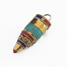 Turquoise Coral Lapis Brass Pendant Tibetan Nepalese Handmade Tibet Nepal UP1147