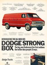 1971 Dodge Cargo Van Tradesman  Vintage Advertisement Car Print Ad J497