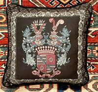 Vintage Throw Pillow - Crest - Coat of Arms Motif - Tapestry Fabric