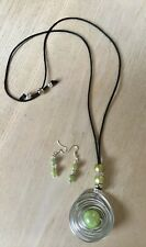 Silver / Soft Green Silver Long Statement Necklace & Earrings