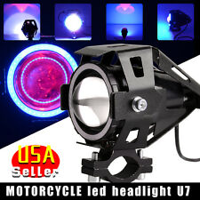 125W U7 Motorcycle LED Headlight Driving Fog Spot 3000LM Strobe Lamps +Switch