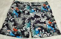 CHAPS Ralph Lauren Men Board Shorts XL Tropical Hawaiian Cargo Swim Toucan X-17