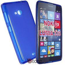 Cover Custodia Per Nokia Lumia 535 BLU Retro Opaco Silicone Gel TPU