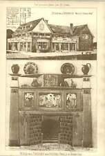 1904 Boat House Design Walter Dobson Fireplace Pottery Panels Herbert Budd