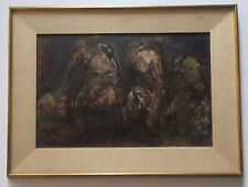 MID CENTURY ABSTRACT PAINTING SIGNED MYSTERY ARTIST EXPRESSIONISM NON OBJECTIVE