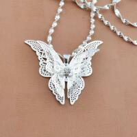 Hot Women Girls Lady Jewelry Butterfly Pendant Necklace Silver Plated