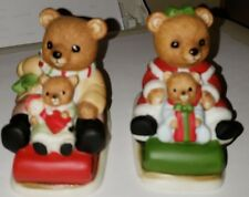 Vintage Homco Ceramic Bears On Sleds. Christmas Decor. Collectible